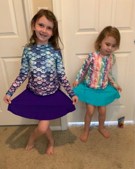 The girls burn easy so I love these long sleeve modest swim suits for them during the summer http://liketk.it/3esiN #liketkit @liketoknow.it #LTKswim #LTKkids #LTKtravel
