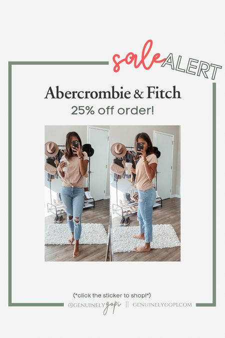 """25% off all Abercrombie orders! click """"copy code"""" and apply at checkout 🙌🏽  #abercombie #denim #sale #abercrombieandfitch #affordable  #LTKSale #LTKunder50 #LTKsalealert"""