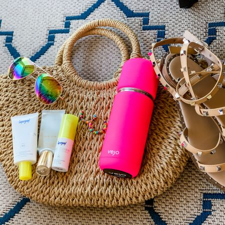 This summer's staples? Our favorite Target sandals, a good straw bag that cinches closed, a fun pair of sunglasses, our favorite Happy Magnolias hoops, sunscreen we can count on, and our Vejo blenders!! This is all we need to make it through our summer fun!  http://liketk.it/3futC #liketkit @liketoknow.it #LTKswim #LTKunder100 #LTKitbag