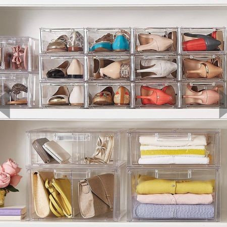 Clear stackable shoe drawers at the container store are 50% off today only! I use the size small for flats & sandals, and the large for boots & wedges. These look so chic in my closet! Use code: dailydeal    http://liketk.it/3hbAh #LTKshoecrush #liketkit @liketoknow.it @liketoknow.it.home #LTKsalealert #LTKhome