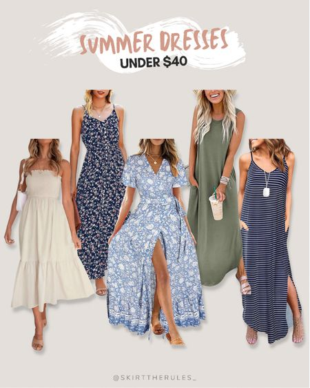 Amazon finds, Amazon fashion, beach vacation outfit, summer outfit, summer style, summer dress: beige dress, strapless dress, smocked dress, navy floral dress, light blue floral dress, floral maxi dress, green tank dress with pockets, navy striped dress with pockets. @liketoknow.it http://liketk.it/3iBxt #liketkit #LTKunder50 #LTKstyletip #LTKtravel
