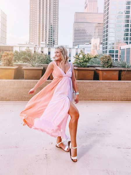 I love this color block maxi from Chicwish! The pastel pink, orange and purple makes me crave rainbow sherbet 😋 I'm in a size medium! It would be perfect for a summer wedding or beach trip