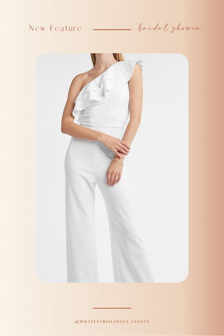 We are loving this dress from Express for all your bridal functions!   Think: summer dress, summer dresses, summer dress midi, summer dress outfit, summer dress white, white summer dress, white dress outfit, bridal shower dress, bridal dress, bridal luncheon dress, engagement party, engagement shower, bachelorette party, bride outfit, bride, wedding, white jumpsuit, jumpsuit     #LTKstyletip #LTKunder100 #LTKwedding