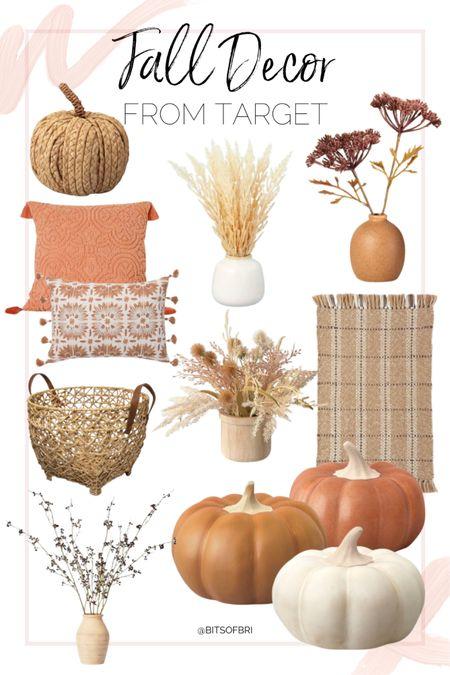 New fall decor from target!   Pumpkins. Rug. Faux plants. Baskets. Throw pillow.