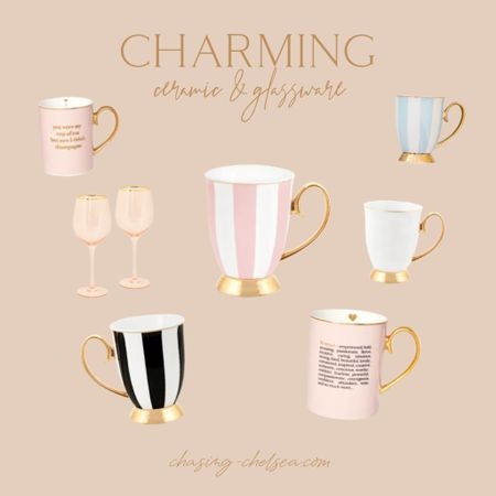 How darling are these cristina re handmade mugs & wine glasses? The perfect gift! Pink striped mug Black striped mug Engagement gift Wedding gift Bridesmaid gift female empowerment teacher gift christmas gift   #LTKunder100 #LTKhome #LTKunder50