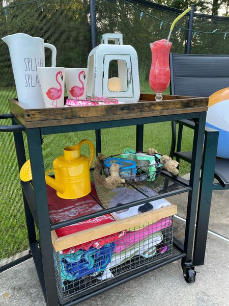 This bar cart from Vasagle has been such a hit this summer. It is so versatile for the porch, the pool or as a dessert cart inside.    #LTKhome #LTKfamily #LTKunder100
