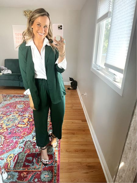 Amazon fashion find that I love! This green set can be dressed down or worn with a button down for an office outfit!  #LTKshoecrush #LTKworkwear #LTKunder50