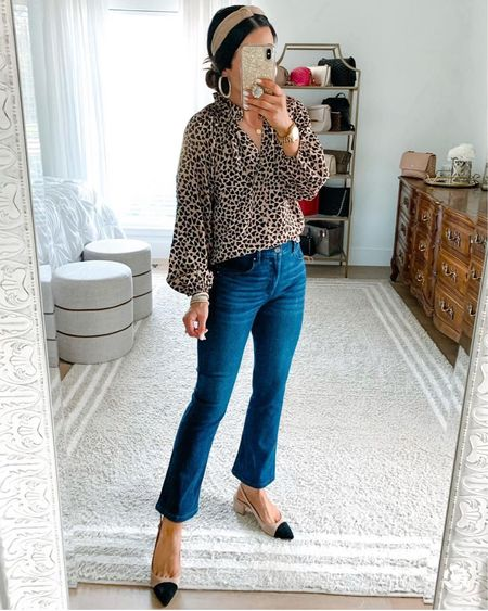 Yay! All these tops and jeans are 50-70% off today! Which outfit do you like best? This heart pattern blouse is photo 1 is just $20 instead of $75! These two floral blouses are on sale + an additional 70% off as well! And these flare crop jeans are 50% off and are super flattering. ☺️ Shop it all via the LTK app. Or head to our blog and click the Shop Our IG tab. We hope y'all have a great night! ❤️