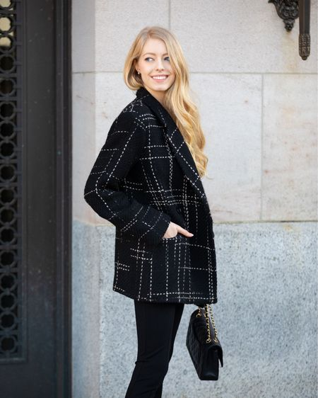 Black oversized plaid blazer anine bing. Wearing size xs.  Black pointe pants with split hers.  Have good stretch with a high waist. Try to size.  Stylish, street, work wear, sophisticated, classy, black on black, all black outfit. Perfect for spring or fall.   #LTKworkwear #LTKstyletip #LTKSeasonal