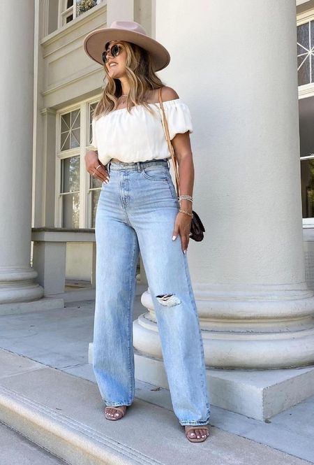 Perfect for summer and fall.   Cropped Off The Shoulder Bubble Top  Super High Waisted Ripped 90s Wide Leg Jeans  Packable Straw Fedora Hat  Ray-Ban Polarized Round Metal Gold Sunglasses   #liketkit #rayban #sunglasses #express #summeroutfit #sumemrtrends #strawhat #fedora #falloutfit #croptop #highwaistedjeans #rippedjeans @liketoknow.it