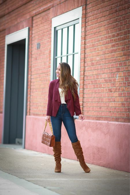 #ad Everything I'm wearing is under $35 and my knee high boots is under $52! Burgundy Jacket is so amazing and petite friendly. Wearing size xxs. These jeans are only $25 and fit like a glove. Comes in short length. Wearing size 00 short. @walmart @walmartfashion #walmartfashion   #LTKstyletip #LTKunder50 #LTKSeasonal