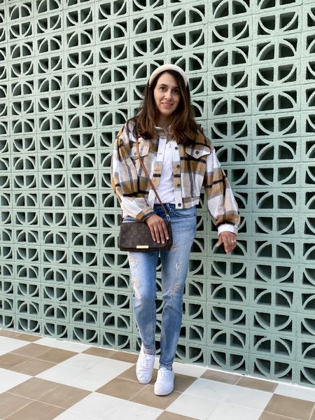 Love this plaid girly style cropped shacket! You can wear it with a skirt, leggings and more.  I linked similar items I am drying it with here.    #LTKunder50 #LTKSeasonal #LTKstyletip