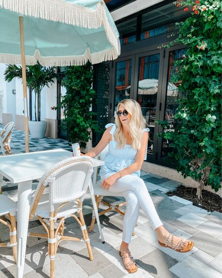 Love this flirty blue tank top for spring! And it comes in a ton of colors! My white skinny jeans are old but I linked some that are similar! http://liketk.it/3cYuP #liketkit @liketoknow.it