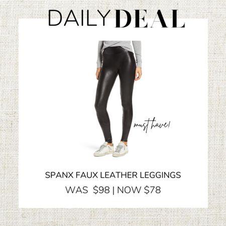 http://liketk.it/32g94 #liketkit @liketoknow.it #LTKsalealert #LTKunder100 #LTKgiftspo Spanx Faux Leather leggings on sale at Nordstrom for $68!!!