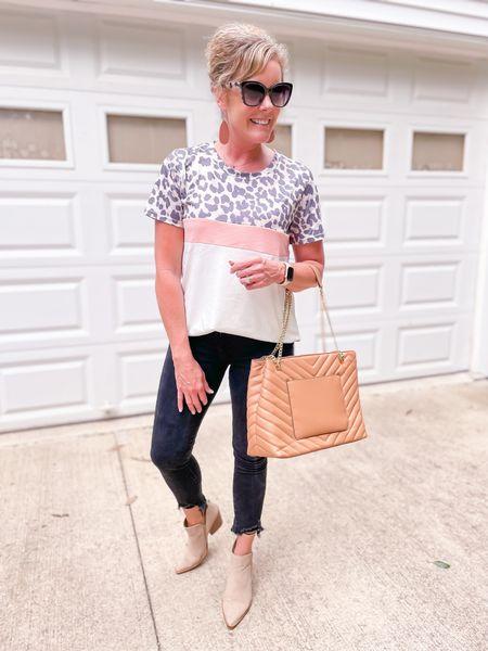 Amazon promo code leopard tee size medium / Abercrombie black jeggings jeans frayed hem size 4 short fit TTS / Target chain purse / bag / pointed toe booties fit TTS   #LTKstyletip #LTKitbag #LTKunder50