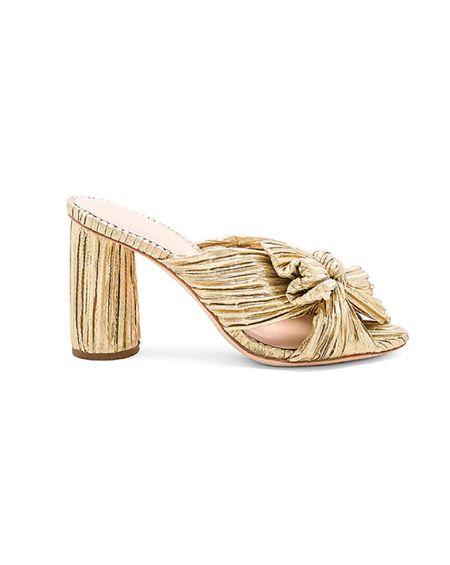 Stylist pick: Penny High Heel Pleated Knot Slide in gold by  Loeffler Randall ✨    #LTKsalealert #LTKstyletip #LTKshoecrush