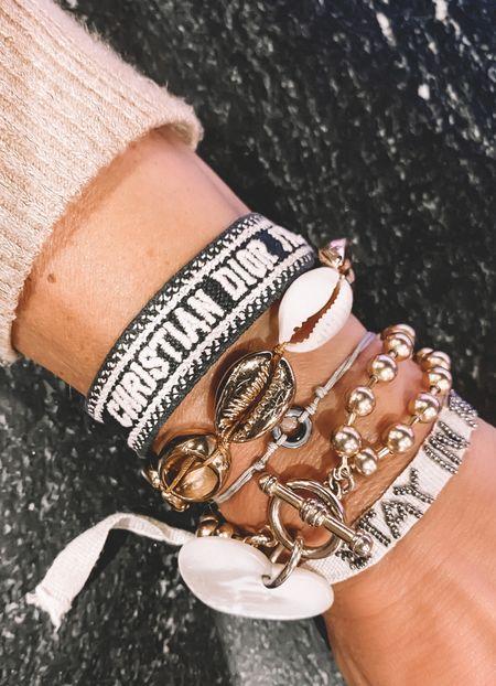 Fall transition bracelet stack! #christiandior   #LTKunder100 #LTKunder50 #LTKSeasonal