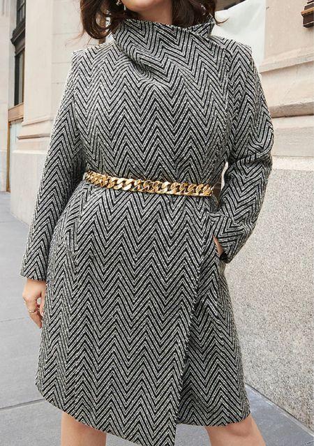 Chevron wrap coat   #LTKstyletip #LTKworkwear #LTKSeasonal