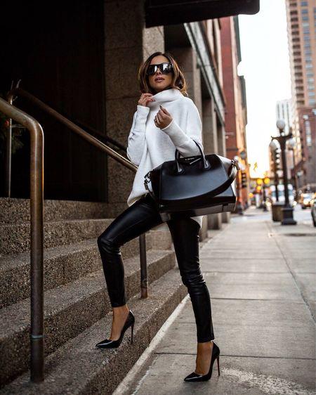 Fall outfit ideas  Free People tunic sweater  Blank NYC Faux Leather Pants  Givenchy Antigona Handbag   #LTKstyletip #LTKunder100 #LTKitbag