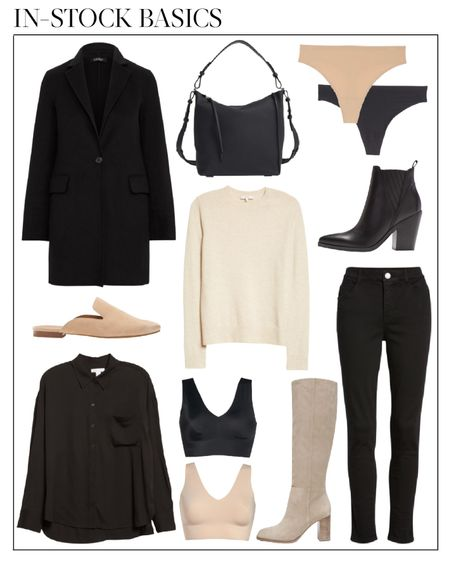 These basics are still in stock in at least one size and color 🖤 The black coat and Vince sweater are my favorite. I bought the knee high boots in black suede.  nsale, nsale 2021, nordstrom sale, nordstrom anniversary sale 2021, nsale in stock, nsale public access, nsale outfits, womens fall outfirs, fall outfits women, fall outfits