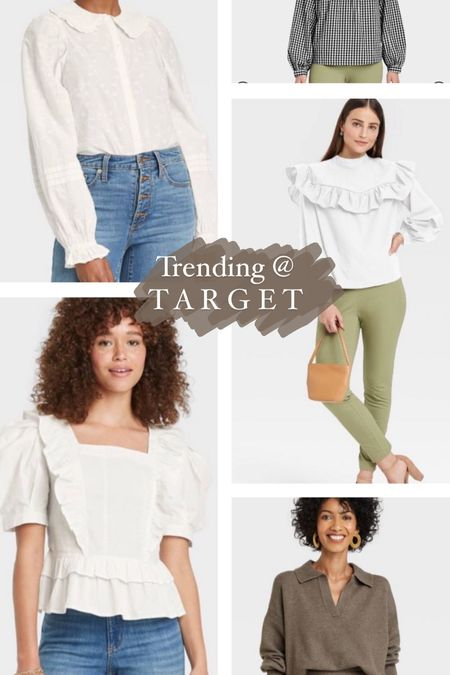 Grandpa cardigans, collared necklines, ruffles, puff sleeves and more. See all the pieces trending for fall at target under $40   #LTKSeasonal #LTKswim #LTKunder50