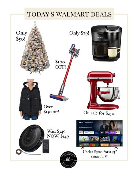 """Walmart deals 💙 Over $100 off home appliances! Only $49 for this 4.5ft Christmas tree 🎄 Plus this """"Amazon"""" jacket is only $109 — comes in tons of other colors, great for the winter season😍  #LTKsalealert #LTKHoliday #LTKhome"""