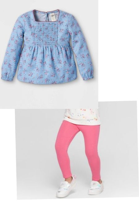 this is the cutest outfit for a toddler girl! This blue floral smocked top is precious!