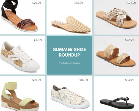 Summer shoe roundup! All my faves and almost all are on sale! From sandals to flip flops, fashion sneakers to mules, animal print to natural fiber- there's something for everyone!  http://liketk.it/2QZOz #liketkit @liketoknow.it #LTKunder50 #LTKunder100 #LTKshoecrush