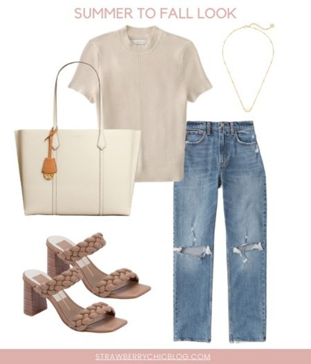 Summer to fall casual look- mom jeans paired with a Tshirt and heels   #LTKSeasonal #LTKstyletip #LTKshoecrush