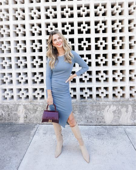 Michael Stars ribbed midi dress, Sz S, so flattering and comfortable! Balenciaga Hour Small Croc-Embossed Top-Handle Bag, suede knee high boots are from last year but have linked similar boots, Fall Fashion, Her Fashioned Life  #LTKstyletip #LTKSeasonal