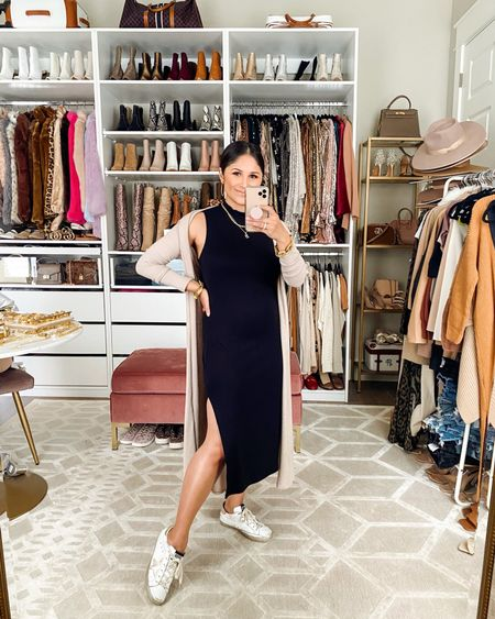 Take 15% off my dress @gibsonlook with code HAUTE15   #mididress #mockneckdress #dustercardigan #goldengoose #falloutfit #springoutfit #sneakers #starsneakers #blackdress  #bumpfriendly #maternity   #LTKstyletip #LTKbump #LTKunder100