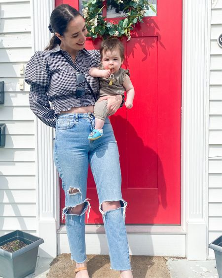 Mother's Day puff sleeve checkered top and distressed mom jeans http://liketk.it/3eVvX #liketkit @liketoknow.it #LTKstyletip #LTKunder100 #LTKunder50