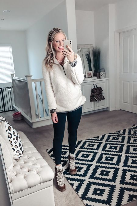 This cozy Sherpa from Walmart is a total win ❤️ layered with a $10 top and leggings! And these BOOTS!! 😍😍  M in both tops! Boots TTS   http://liketk.it/2Yrwa #liketkit @liketoknow.it #LTKsalealert #LTKshoecrush #LTKunder50