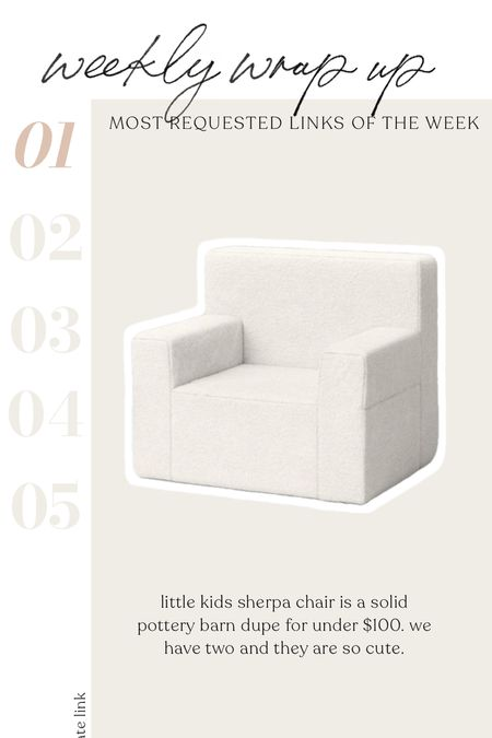 Kids pottery barn sherpa dupe chair