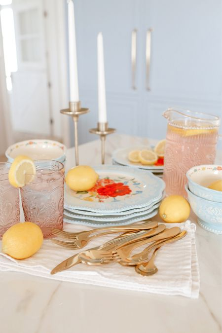 #ad bright and colorful summer dinnerware, flatware, glassware, and pitcher from Walmart!     #LTKhome