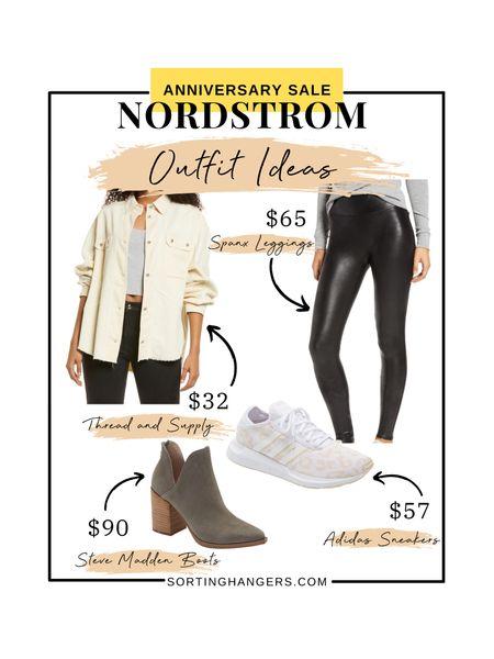 Nordstrom Anniversary Sale Outfit Ideas ✨ Thread and Supply Cord Shirt | Spanx Leggings | Steve Madden Boots in Grey Suede | Adidas Swift Run X   #LTKshoecrush #LTKstyletip #LTKsalealert