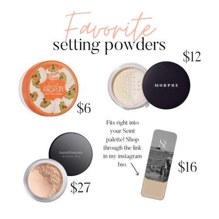 #tiptuesday 💕 If you have oily skin, make sure you set your makeup with a powder! Here are my favorites that I've tried. The Seint Vanilla Dust setting powder is ultra convenient because it snaps right into your palette! Order that through the link in my Instagram bio. Otherwise, shop my favorites here in the LIKEtoKNOW.it app!   #LTKbeauty #LTKstyletip