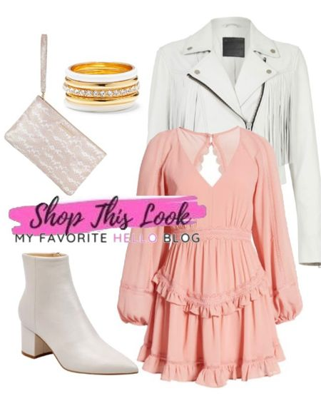 Wedding guest dresses with White boots outfit with pink blush dress. White leather jacket and white booties for a date night outfit. #liketkit http://liketk.it/3gNzj @liketoknow.it #whiteboots #whiteleather #blushdress    #LTKshoecrush #LTKunder100 #LTKstyletip