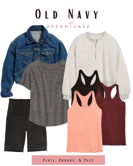 Old Navy style essentials! The best  jean jacket, pop over, tshirt, bike shorts, and work out tops in town! #oldnavy  #LTKsalealert #LTKunder50 #LTKSeasonal