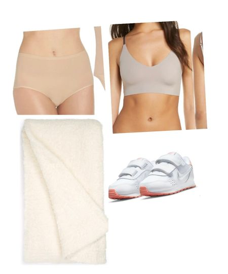 """Did not go crazy with the #nsale this year but I did buy a few things. 1. These soft """"granny panties"""" - one size fits all and if you're not into thongs, this is your best alternative. 2. Wireless bras are my thing 3. Barefoot dreams blanket 4. Sneakers for my little girl 5. Donna Karan cashmere deo that everyone raves about - sold out but I will tag if they restock.   #LTKunder100 #LTKshoecrush #LTKsalealert"""