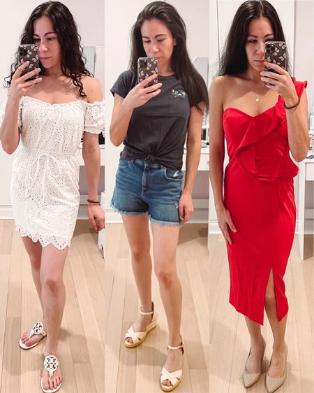 More recent favorites: A cute white off the shoulder mini dress with eyelet details - under $50 with code LAURAC20  A pretty embroidered tee from Abercrombie that I also got on sale and my new Stuart Weitzman yellow striped wedges that are under $100 A red midi dress from Amazon with ruffle detail - would make a great holiday dress or wedding guest dress   #LTKwedding #LTKunder100 #LTKunder50