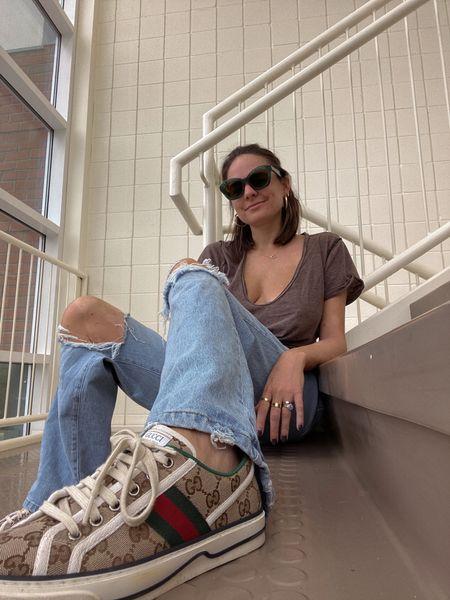 Rebecca Piersol style. Free people T-shirt. Forever 21 denim. 90s style. Gorjana jewelry. Iris Apful x Zenni sunglasses. Fall fashion. Everyday style. Denim under $50.   #LTKstyletip #LTKshoecrush #LTKunder50