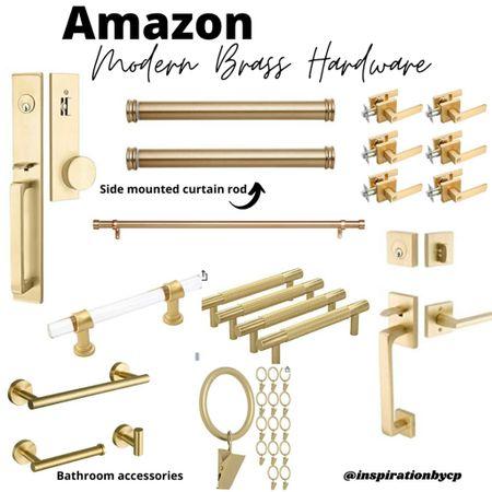 Amazing modern brass hardware  ✨acrylic door knobs, brass curtain rods, brass door hardware, bathroom accessories   #LTKhome #LTKunder50 #LTKstyletip