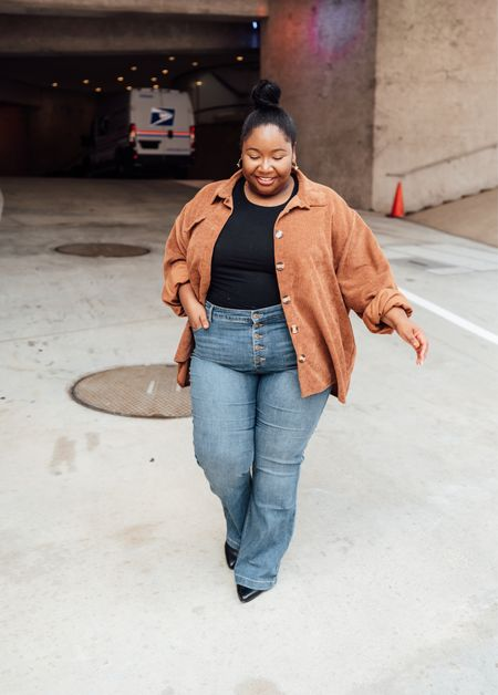 Plus size fall outfit | Corduroy shacket, Shein black bodysuit, wide leg jeans, flare jeans, Sofia jeans, wide width booties, fall booties.  #LTKcurves #LTKSeasonal #LTKHoliday