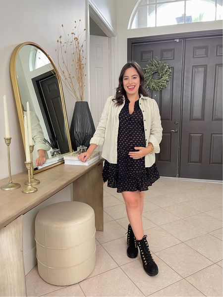 Corduroy shacket, mini dress and combat boots! Maternity friendly fall outfit, 50% off today  Fall style / fall outfit / shacket / loft / bump friendly / maternity style    #LTKstyletip #LTKbump #LTKSeasonal
