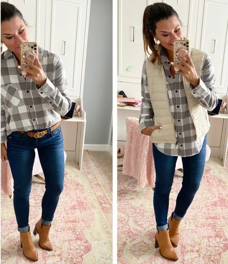 How to style a plaid shirt - everything is true to size. Wearing a small in the plaid shirt and vest. Wearing a 4 in the jeans. #justpostedblog   Plaid  Vest Amazon Fall Women's style   #LTKSeasonal #LTKHoliday #LTKstyletip