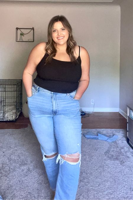 AE Crop Cami XL & AE Stretch Ripped Curvy Mom Jean Size 18 ( I normally wear a 16 in their skinnies) I would size up 1-2 sizes