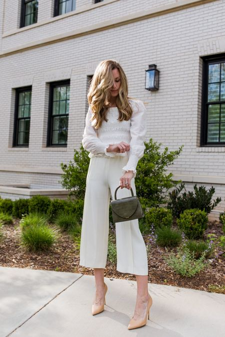 An all-white business casual look for my neutral lovers out there ✨ This date night and office-friendly look is on the blog today!  A note on the pumps—if you struggle to find heels that don't hurt, these pumps are right up your alley. Sharing why + a close up look on my stories!  If you want a pair, use code SARAHFLINT-BANATALIEY for $50 off.   #LTKSeasonal #LTKshoecrush #LTKstyletip