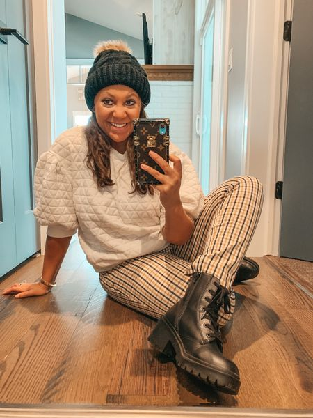 When you're feelin fall instead of the heat outside 🍁 My favorite combat boots from last year are restocked and these plaid pants are under $30! Entire outfit details linked here or in my bio 💕@shop.LTK #liketkit #targetstyle #targetfinds #combatboots #fallfashion #plaidpants #fallstyle #affordablefashion #plaid   #LTKunder50 #LTKstyletip
