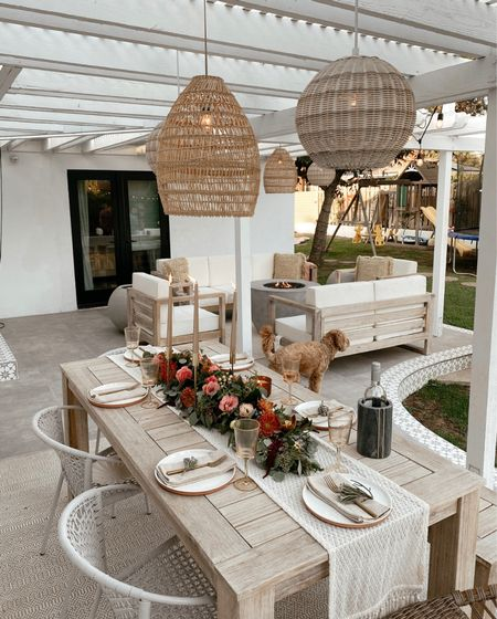 Outdoor lighting and some of my favorite indoor lighting fixtures are 20% off with code NEWLEAF (backyard furniture not on sale but linked here) also linking the flush mount in our office and hallway, as well as well as pendant in our master bedroom... all lights give off a good amount of light//   #LTKsalealert #LTKhome